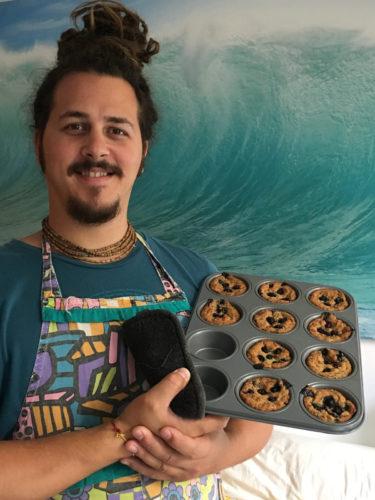 Govinda with Vegan & Gluten-Free Blueberry muffins